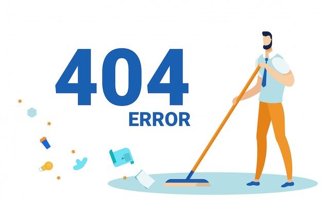 Erreur 404, Page Non Trouvée, Sol Balayant. Vecteur Premium