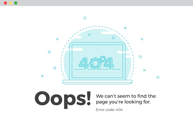 Erreur 404 page web indisponible. concept de fichier non trouvé Vecteur Premium