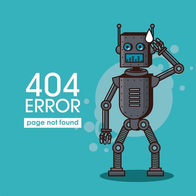 Erreur 404 style de robot Vecteur Premium
