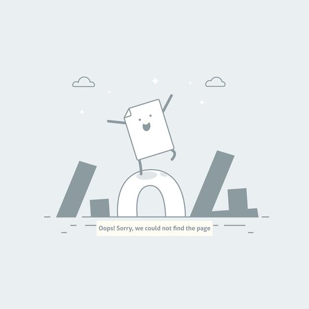 Erreur de conception 404. la page est perdue et le message n'est pas trouvé. modèle pour la page web avec l'erreur 404. conception de ligne moderne. Vecteur Premium