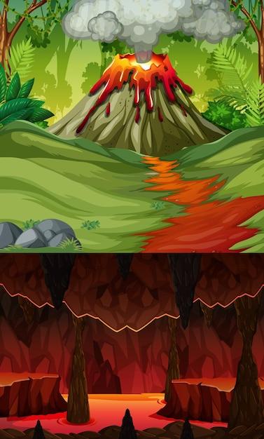 Éruption Du Volcan Dans Une Scène De Forêt Et Grotte Infernale Avec Scène De Lave Vecteur gratuit