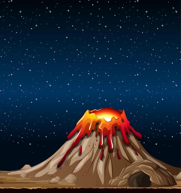 Éruption Du Volcan Dans La Scène De La Nature La Nuit Vecteur gratuit
