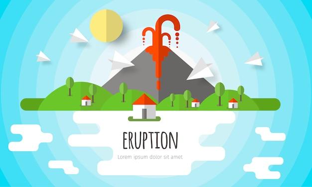 Éruption volcanique de fond Vecteur Premium