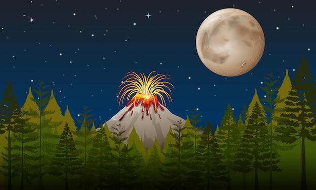 Éruption volcanique la nuit Vecteur Premium