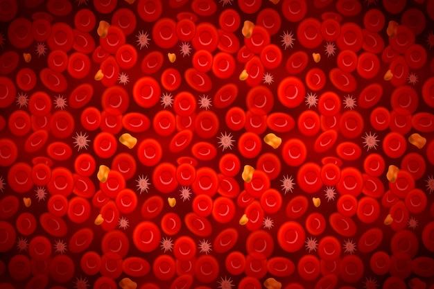 Erythrocytes Avec Globules Blancs Et Cholestérol, Fond De Composition Sanguine Vecteur Premium