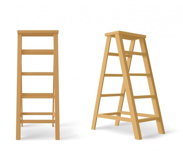 Escabeau En Bois, Grand Escalier Avec Support Pour Plateau Vecteur gratuit