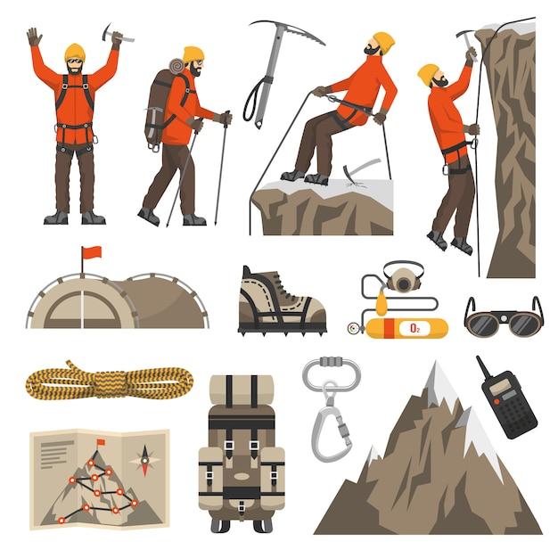 Escalade randonnée alpinisme icônes Vecteur gratuit