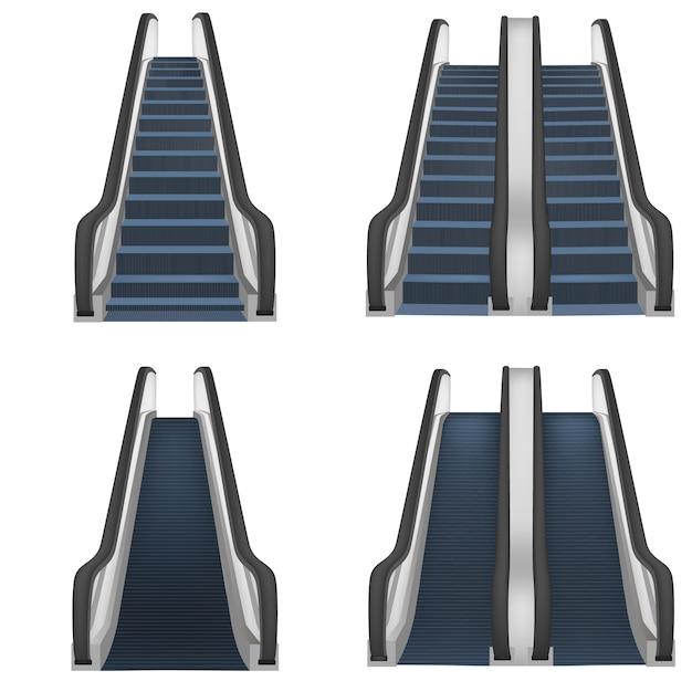Escalator ascenseur escaliers ascenseur maquette ensemble. illustration réaliste de 4 maquettes d'escaliers d'ascenseur pour le web Vecteur Premium