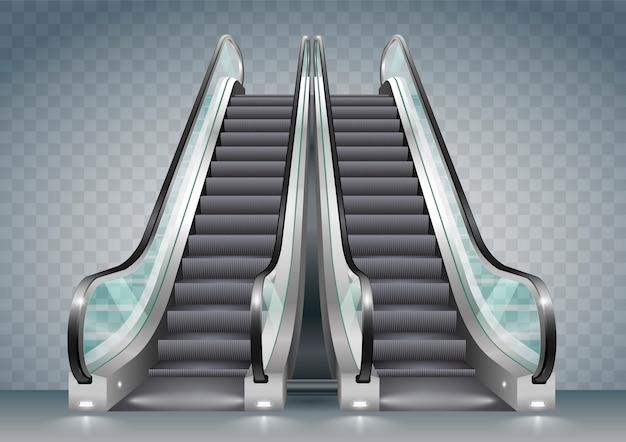 Escalator avec verre clair Vecteur Premium