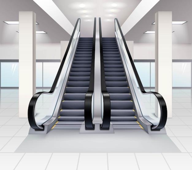 Escalators Dans Le Concept De Construction Vecteur gratuit