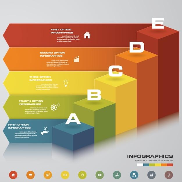 Escalier 5 étapes infographie Vecteur Premium