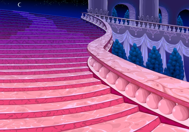 Escalier Du Palais à Minuit. Vecteur gratuit