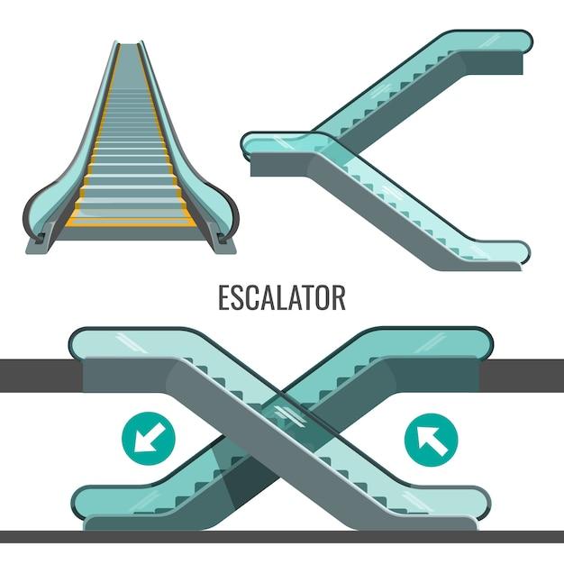 Escalier Roulant En Mouvement Avec Des Flèches Montrant Le Chemin Du Mouvement. Vecteur Premium