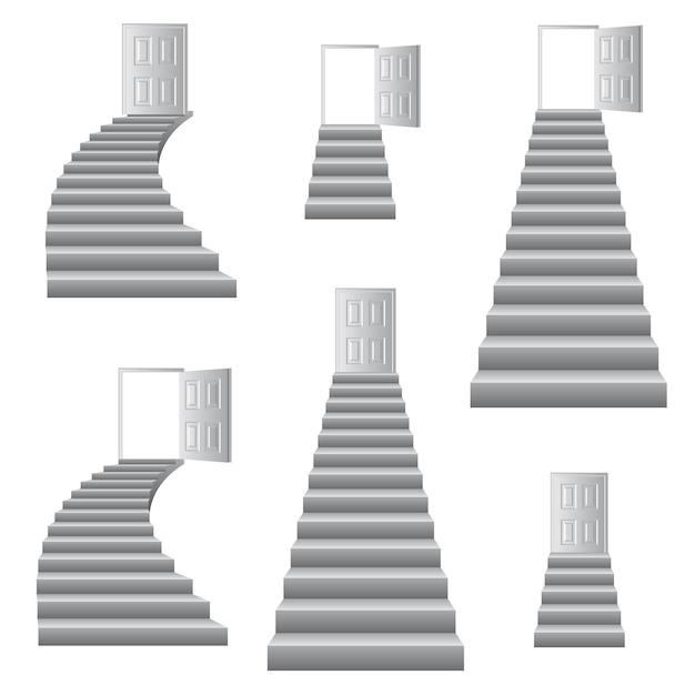 Escaliers à L'illustration De La Porte. Vecteur Premium