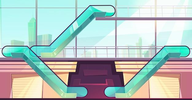 Escaliers Mécaniques Dans Le Centre Commercial. Ascenseurs Avec Garde-corps En Verre Vecteur gratuit