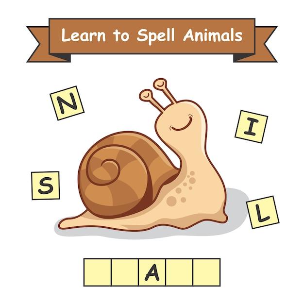 Escargot Apprenez à épeler Les Animaux Vecteur Premium