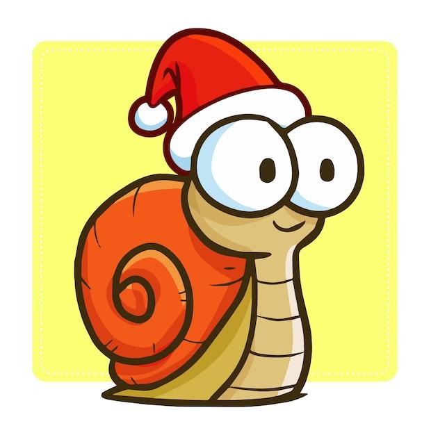 Escargot De Dessin Animé De Noël Vecteur Premium