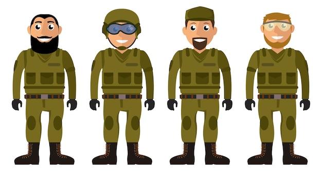 Escouade de soldats. ensemble de personnages de vecteur hommes militaires Vecteur Premium