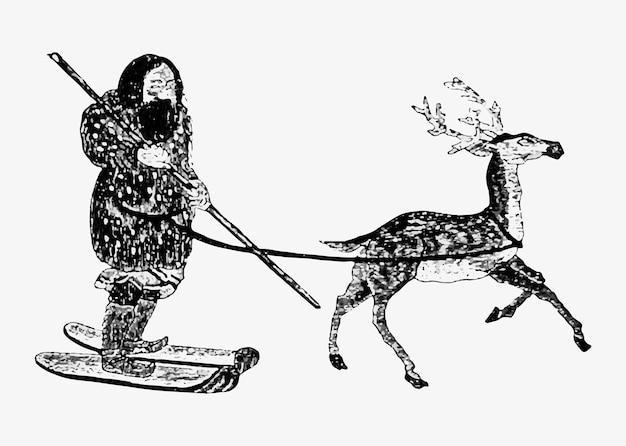Eskimo Ethnique Avec Cerf Vecteur gratuit