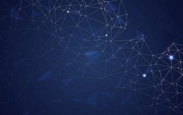 Espace abstrait polygonale low poly bleu avec points et lignes de raccordement. connexion structure.vecteur illustrateur Vecteur Premium