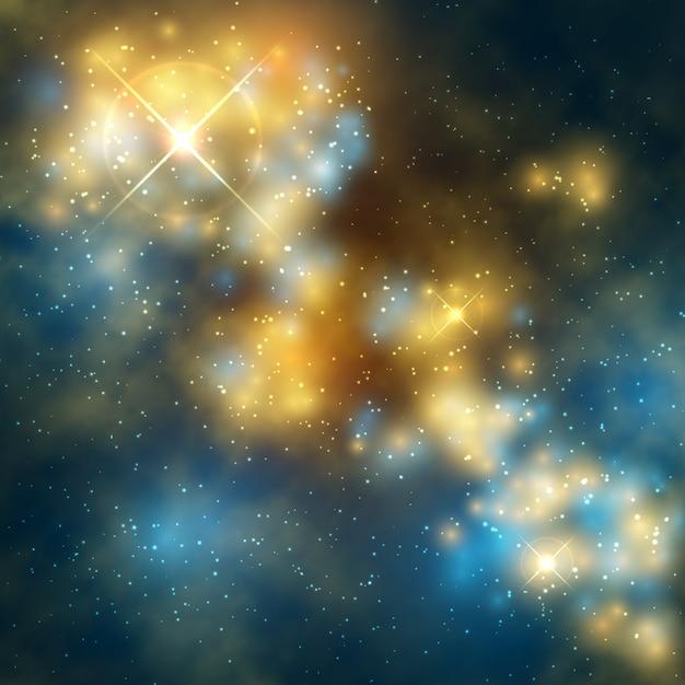 Espace abstrait vectoriel abstrac avec galaxie cosmique et étoiles Vecteur Premium