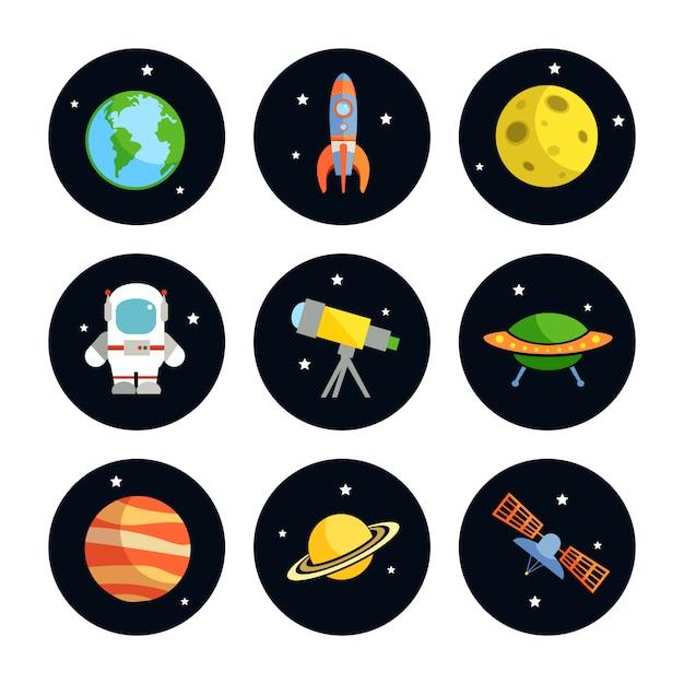 Espace et astronomie ronds éléments ensemble d'illustration vectorielle de terre fusée lune astronaute isolé Vecteur Premium