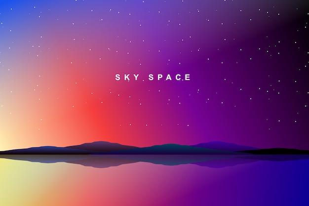 Espace de ciel et fond de galaxie Vecteur Premium