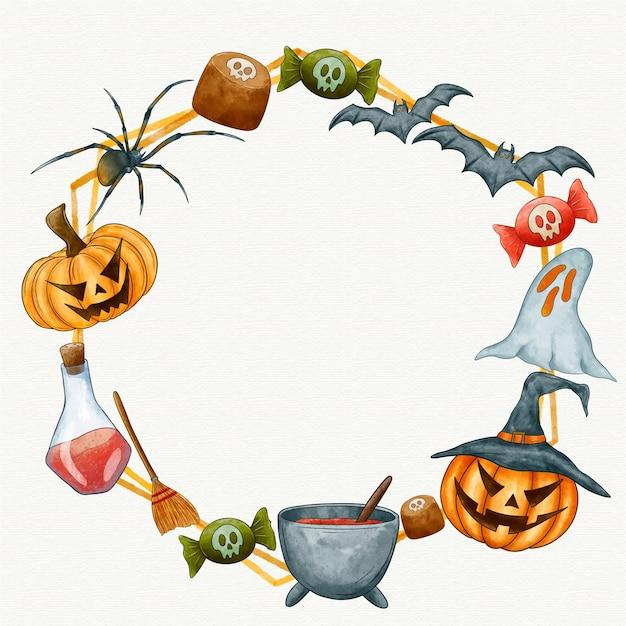 Espace De Copie De Cadre Aquarelle Halloween Vecteur Premium