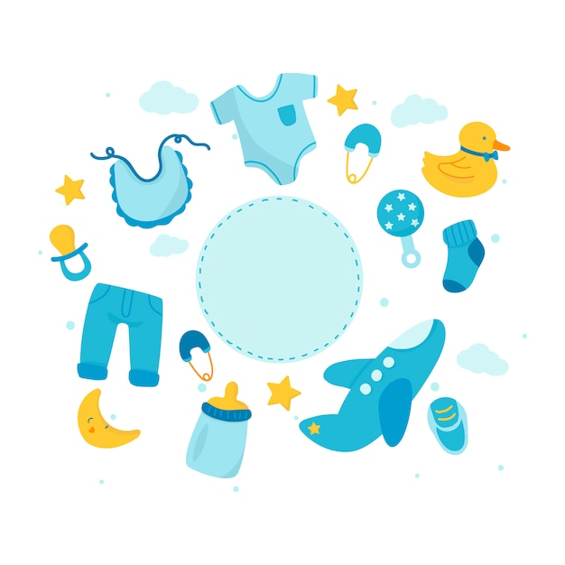 Espace copie thème bébé douche Vecteur gratuit