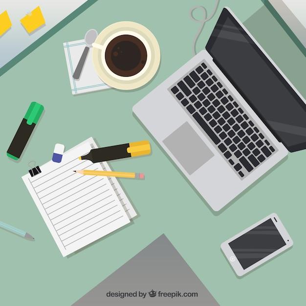 espace de travail avec ordinateur portable et caf t l charger des vecteurs gratuitement. Black Bedroom Furniture Sets. Home Design Ideas