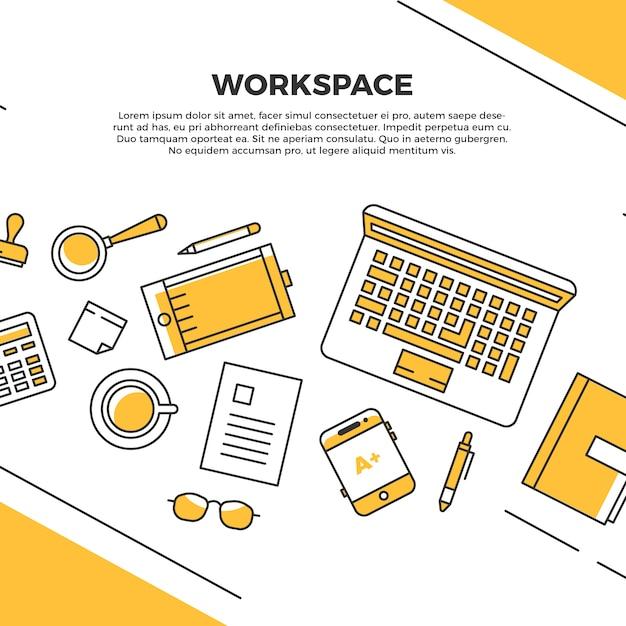 Espace de travail plat jaune Vecteur gratuit