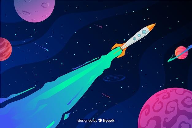 Espace Dégradé Coloré Avec Un Fond De Fusée Vecteur gratuit