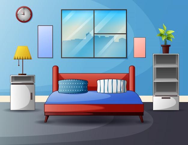Espace Intérieur Chambre Avec Un Lit Près D'une Fenêtre Vecteur Premium