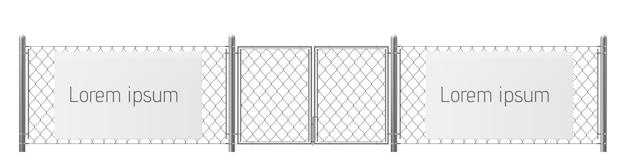 Espace libre, bon endroit pour vecteur réaliste de publicité extérieure visuelle. panneau d'affichage blanc ou vierge sur une clôture en grillage avec piliers métalliques et illustration du portail. avertissement de sécurité Vecteur gratuit