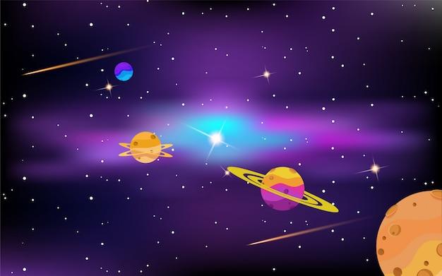 Espace avec des planètes et des étoiles brillantes Vecteur Premium