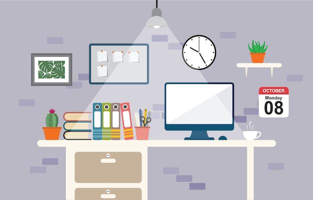 Espace de travail de bureau Vecteur Premium