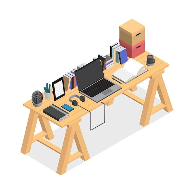 Espace de travail contemporain isolé sur fond Vecteur gratuit