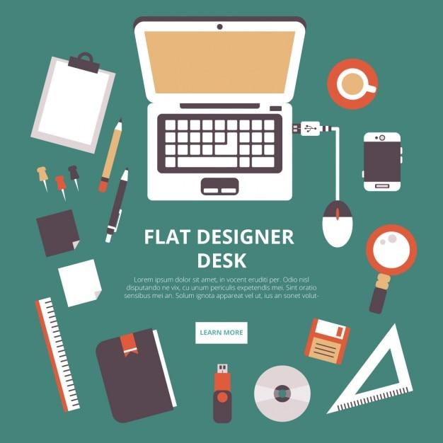Espace de travail de designer Vecteur gratuit