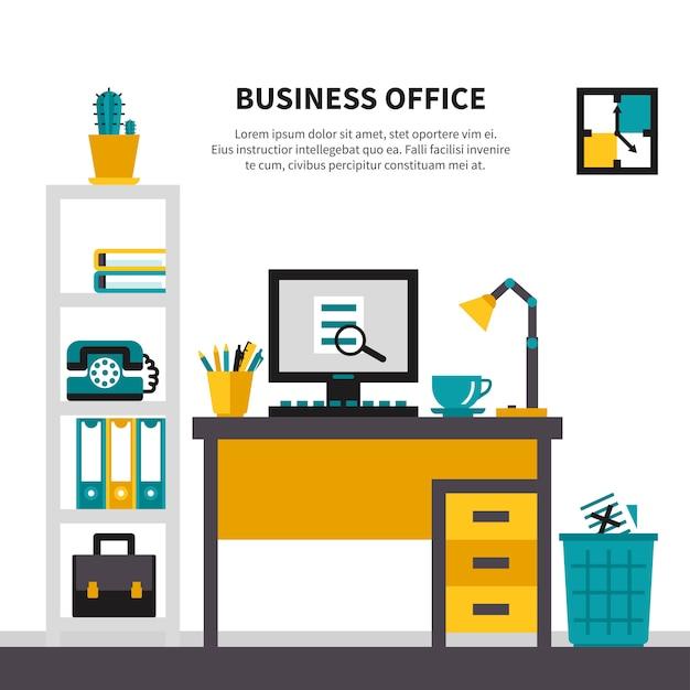 Espace de travail professionnel à l'intérieur du bureau Vecteur gratuit