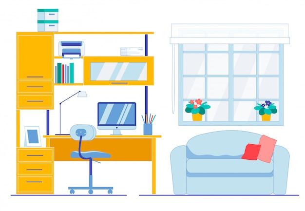 Espace De Travail Propre Et Propre Dans La Chambre De L'appartement Vecteur Premium