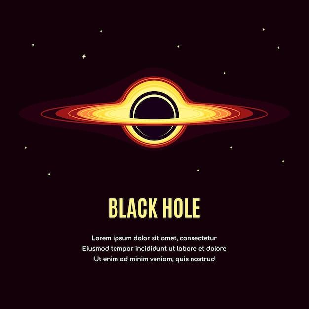 Espace Avec Trou Noir. Bannière De Recherche Spatiale, Explorant La Spase Extérieure. Vecteur Premium
