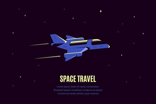 Espace Avec Vaisseau. Bannière De Voyage Spatial, Explorant La Spase Extérieure. Vecteur Premium