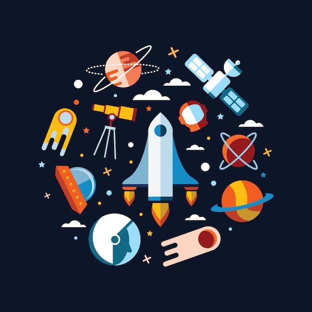 Espace vintage et fond d'astronaute. Vecteur gratuit