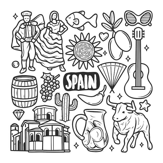 Espagne Icônes Doodle Dessiné Main Coloriage Vecteur gratuit