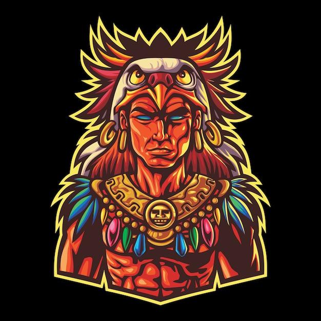 Esport Guerrier Tribal Aztèque Vecteur Premium