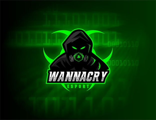Esport logo design wannacry team Vecteur Premium