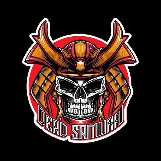 Esport Logo Whit Skull Samurai Caracter Icon Vecteur Premium