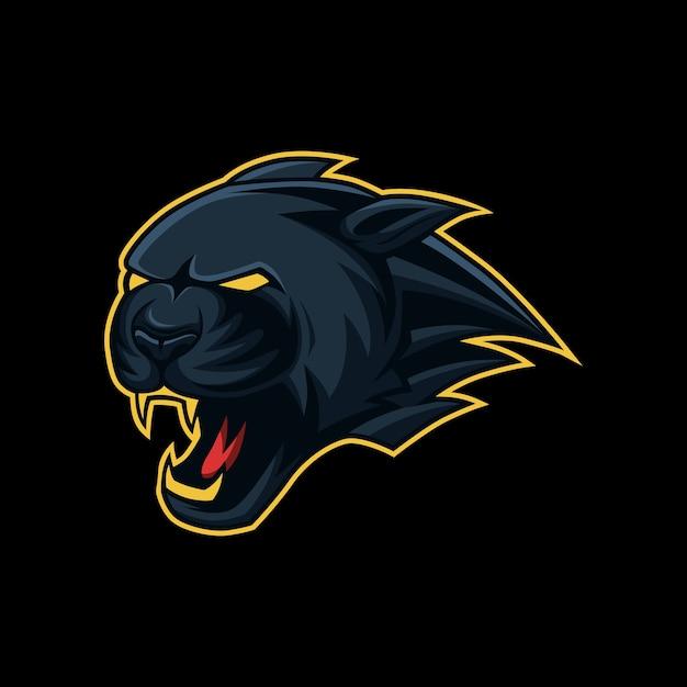 Esport, mascotte de la tête de panthère noire, logo sport Vecteur Premium