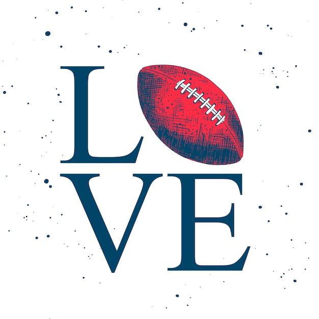 Esquisse d'un ballon de football américain avec typographie Vecteur Premium