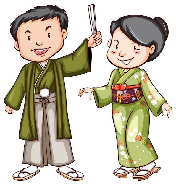 Esquisse Colorée D'un Couple Vêtu D'une Robe Asiatique Vecteur gratuit